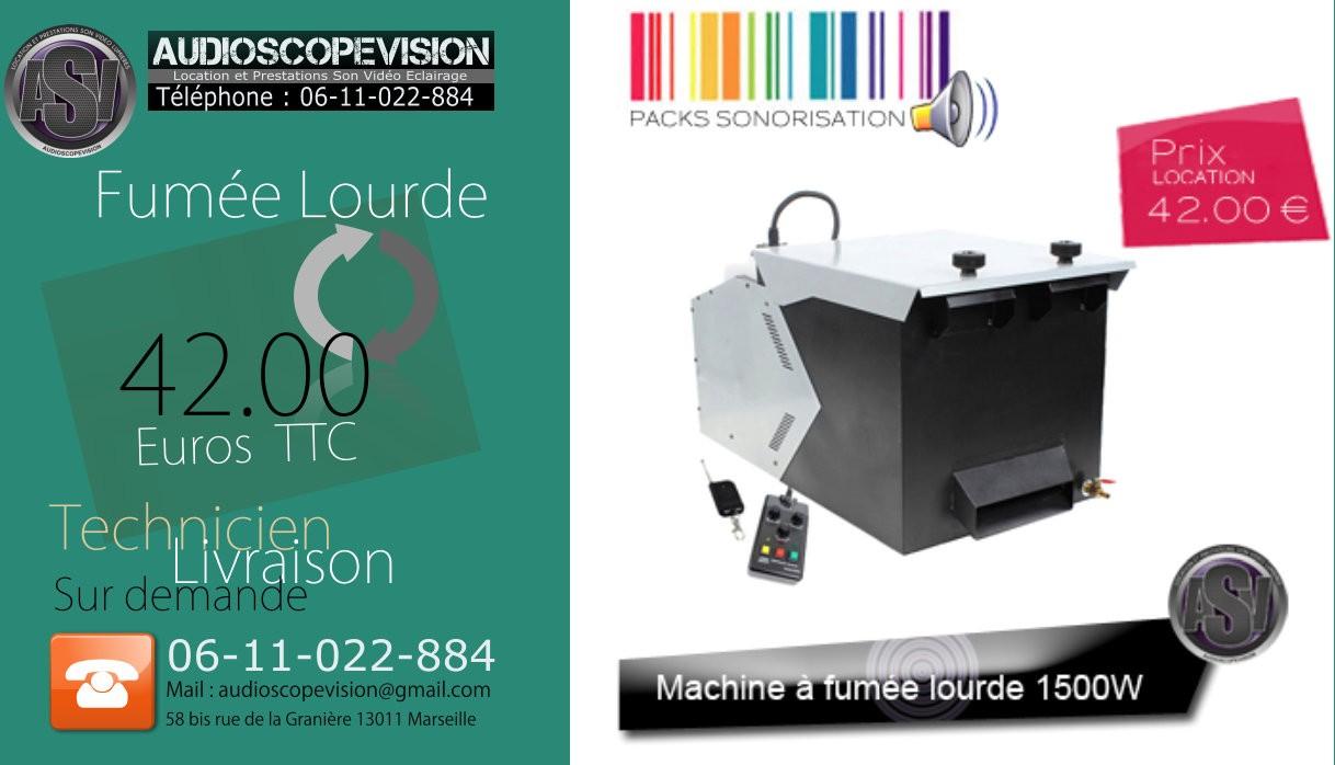 Location, machine à fumée lourde, fumigène, glacons, froid, Aix en Provence