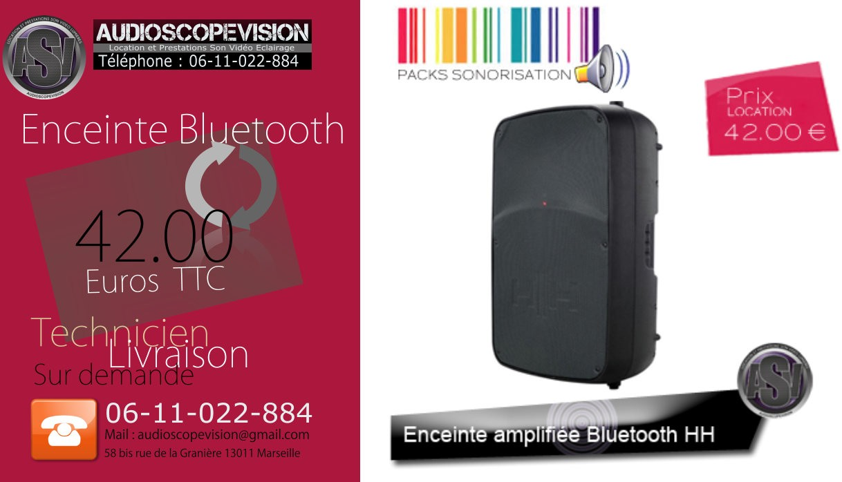 Location, enceinte bluetooth, connection sans fil,  aix en Provence
